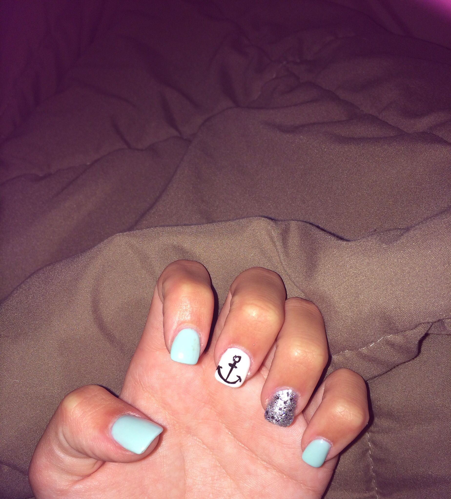 Summer nails, nail design, anchor, sparkles, blue, silver, fake ...