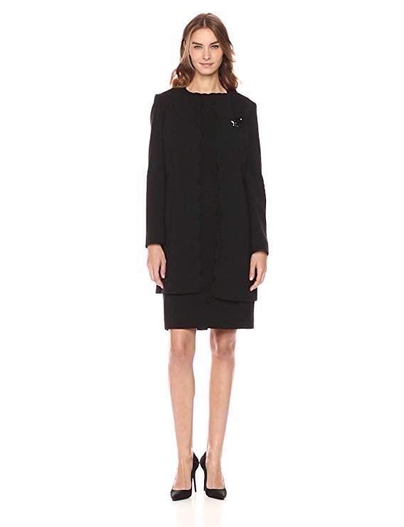 a99d358fcb65 Tahari by Arthur S. Levine Women's Double Weave Scalloped Edge Jacket Dress,  Black, 6