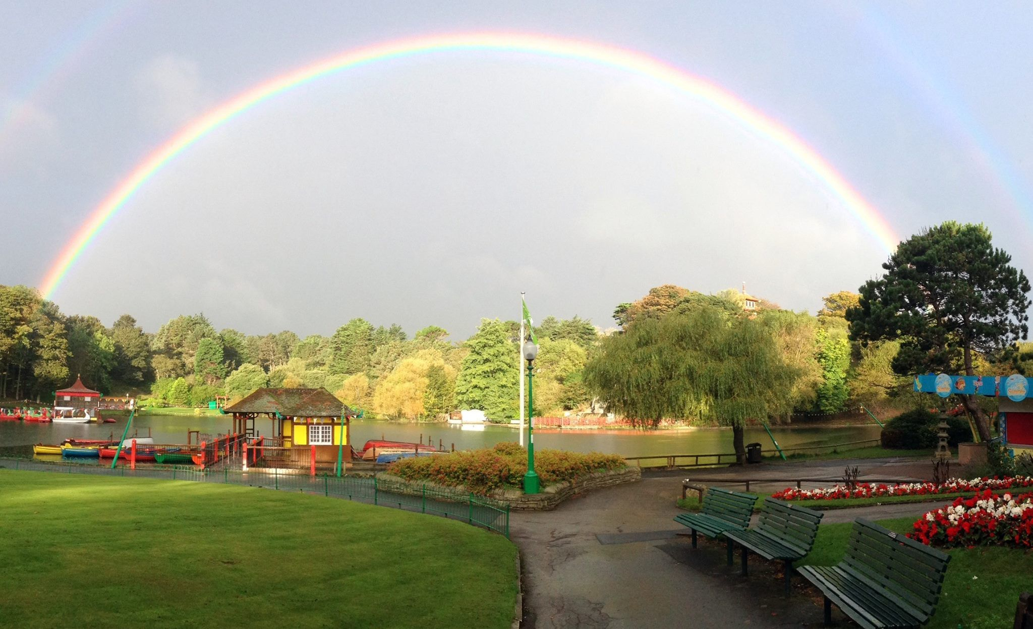 Double rainbow over Peasholm Park in Scarborough by Rose Habberley.