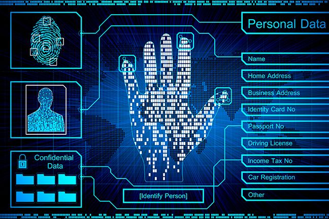 A Futuristic Handprint Scanner With Spaces To Display