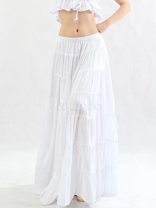 569c7fd59e9 Bohême blanche attrayante jupe longue en coton danse orientale - Milanoo.com