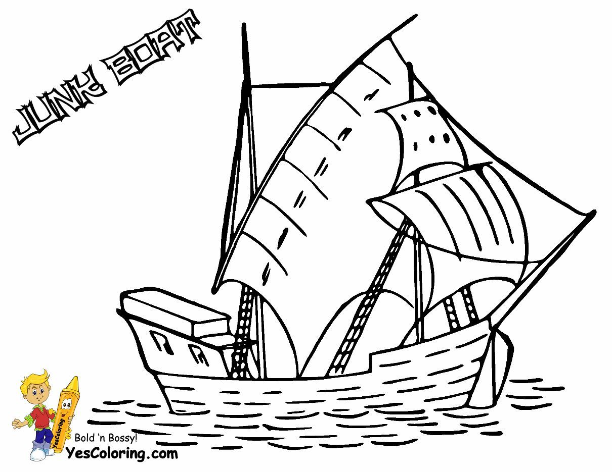 Print Out This Sailing Junk Boat Coloring Page Tell Other Coloring Kids Your Eyeballs Found Yescolori Mermaid Coloring Pages Fish Coloring Page Coloring Pages