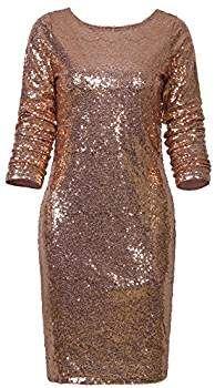 8e17ae00d3 Amazon.com  Vijiv Women s Sexy Deep V Neck Sequin Glitter Bodycon Stretchy  Mini Party