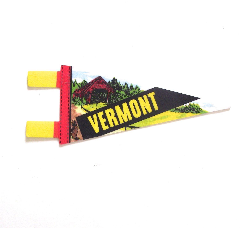 Vermont souvenir pennant vintage miniature vt felt flag in bright