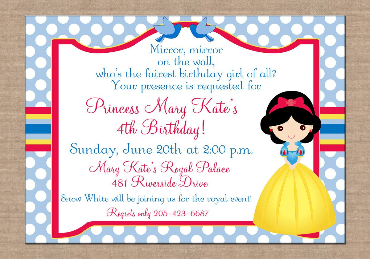 12 Personalized Printed Girl Princess Party Birthday Invitations ...