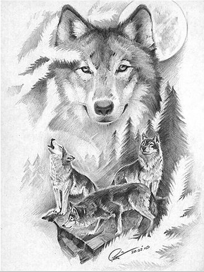 Картинки по запросу лес ЭСКИЗ | Татуировка волк ...