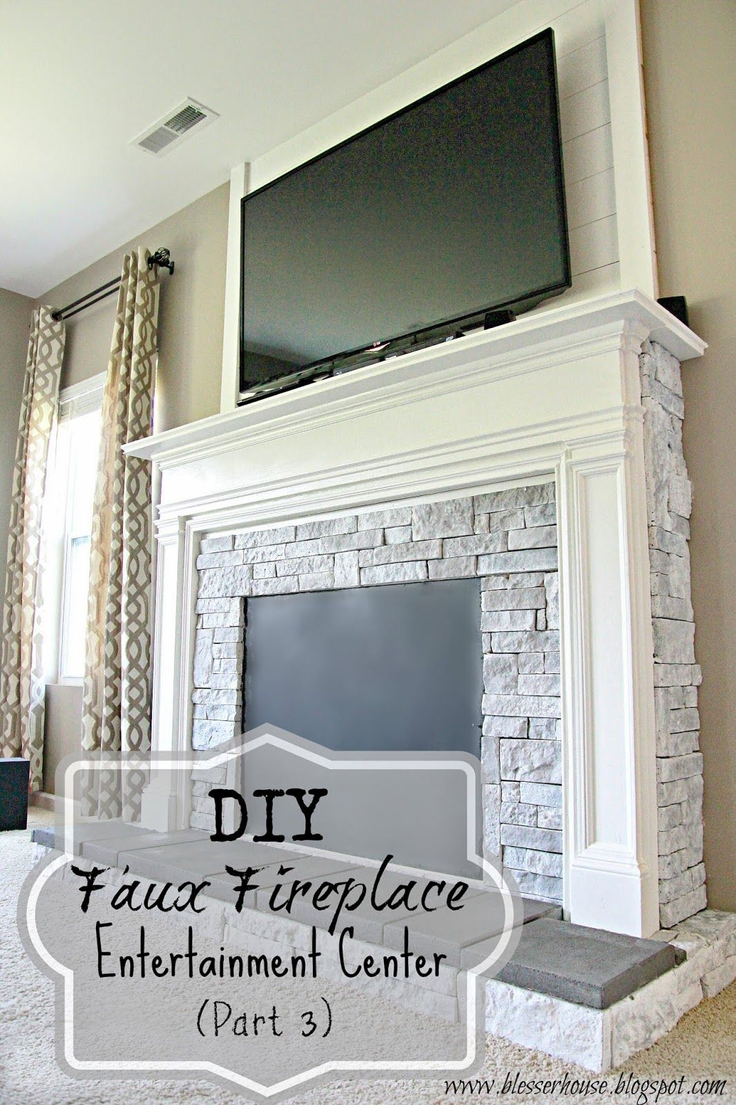 diy faux fireplace entertainment center part 3 faux. Black Bedroom Furniture Sets. Home Design Ideas
