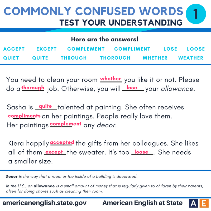 Commonly confused words - Test your understanding 1 - Answers ...