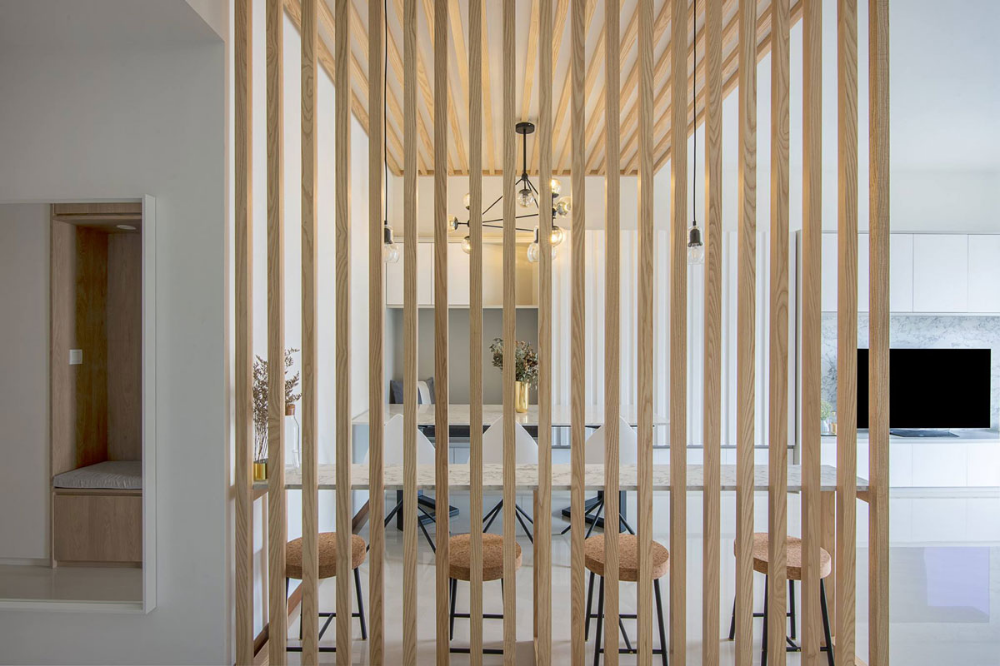 10 Spaces In Singapore That Use Slatted Wood In Style Room Divider Wood Slat Wall Wooden Wall Design