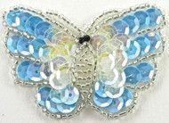 """Butterfly Lite Blue Iridescent Sequins/Beads 1.5"""" x 1.25"""""""