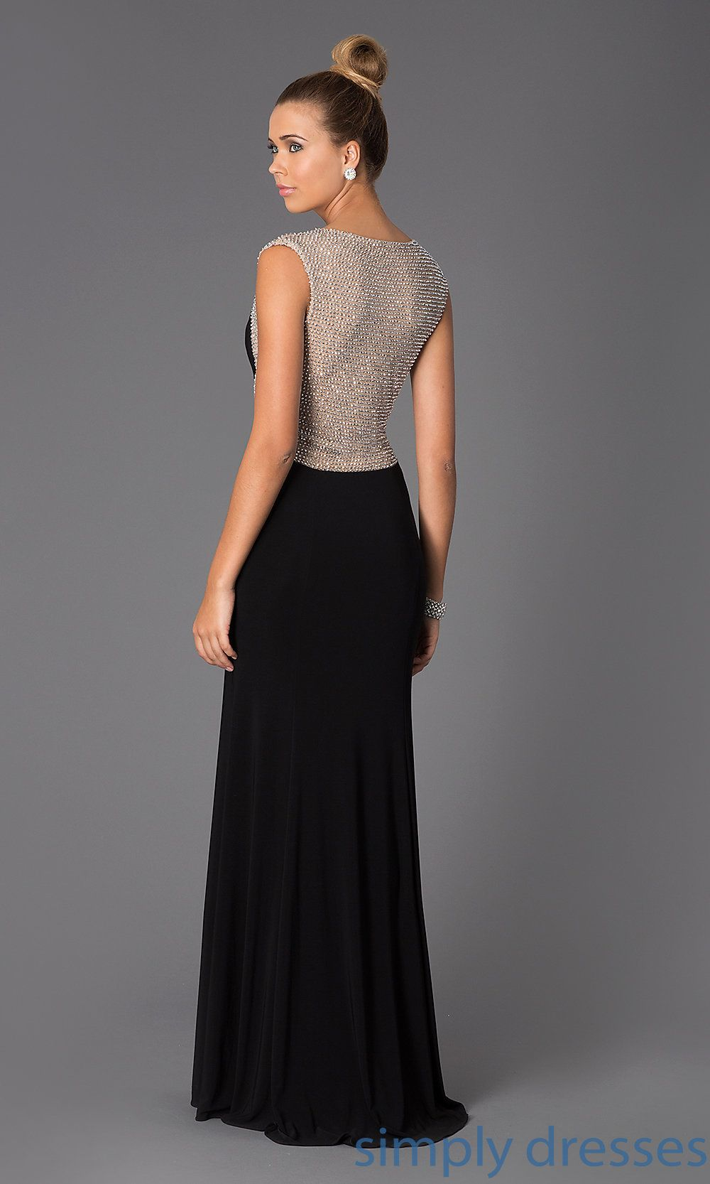 Xscape black formal dress with sheer silver back elegant evening
