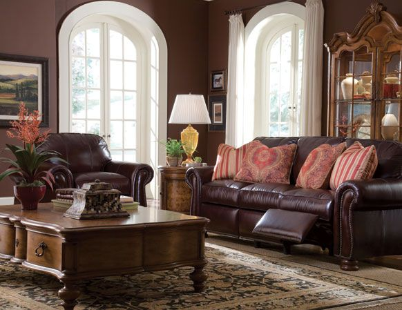 Thomasville Benjamin Leather Motion Sofa Luxury Dining Room Tuscan Living Rooms Tuscan Decorating Living Room
