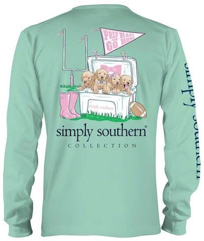b94b9aa283b911 Classic Long Sleeve T-shirt from Simply Southern - Prep Hard or Go Home -  Football and Dogs in a Cooler