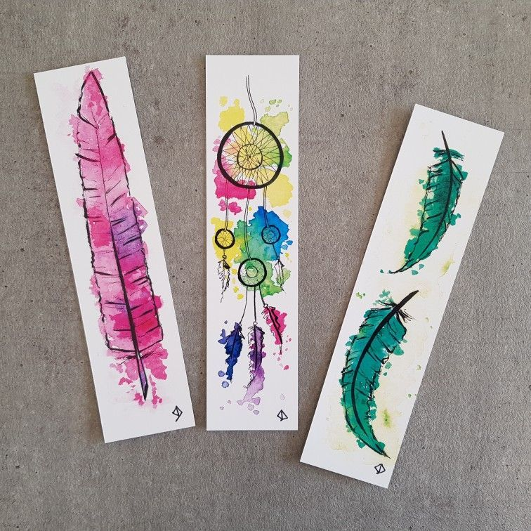 Original Watercolor Bookmarks Dreamcatcher And Feathers Deca8