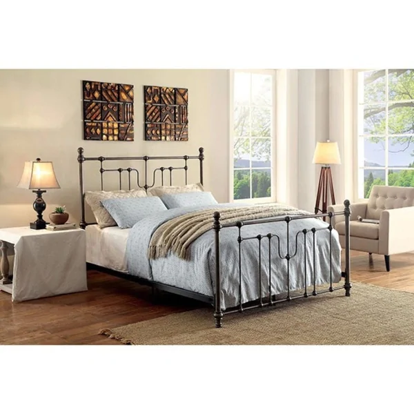 Accentuated Metal Eastern King Size Bed With Headboard