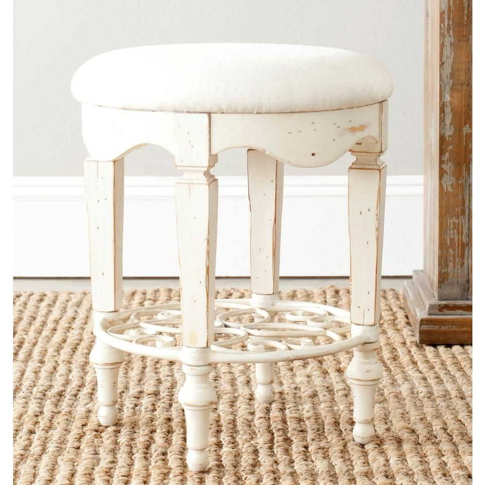 Magnificent Maria Antique White Vanity Stool In 2019 Upholstered Stool Alphanode Cool Chair Designs And Ideas Alphanodeonline