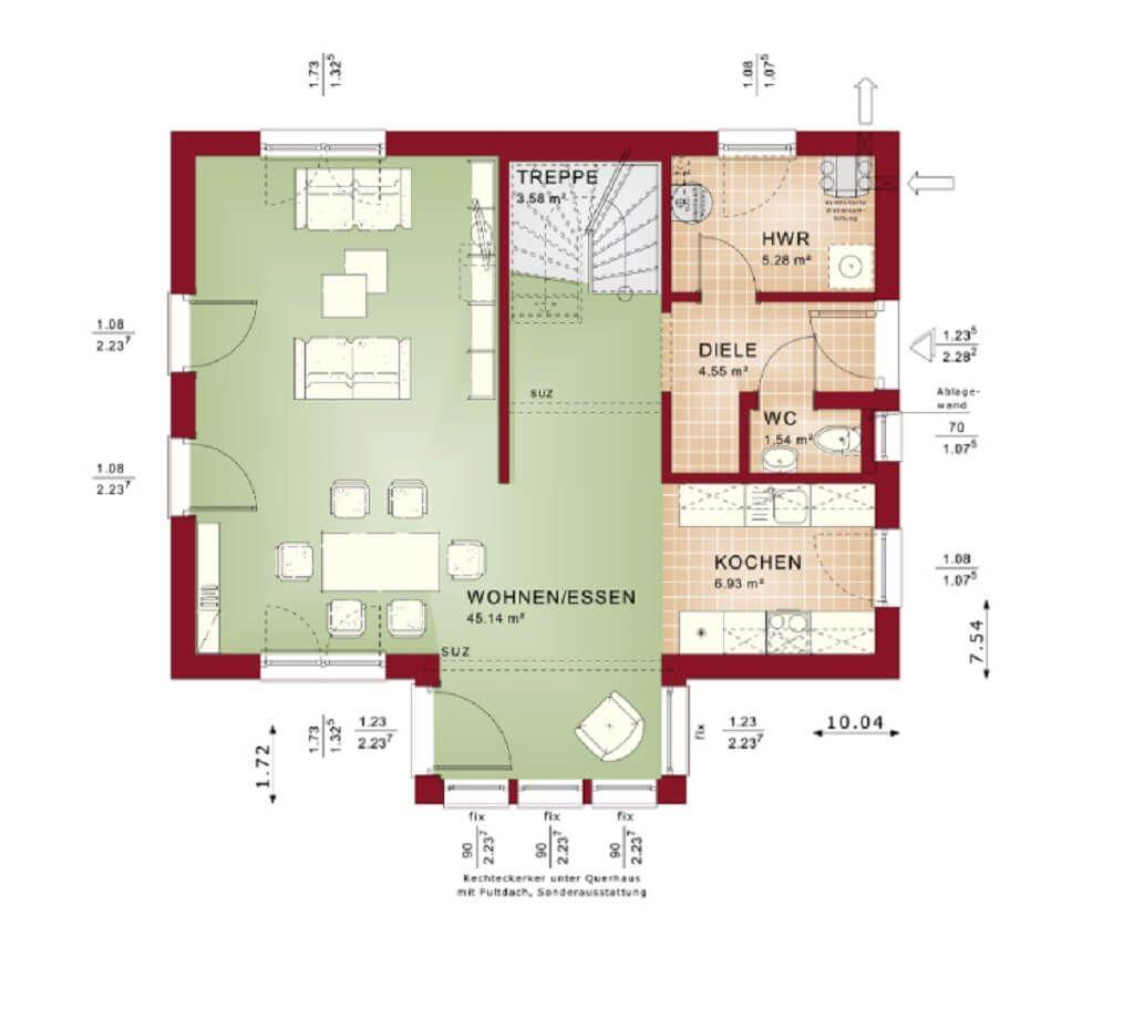 Grundriss HAUS Evolution 122 V9 Bien Zenker | EG Erdgeschoss ...