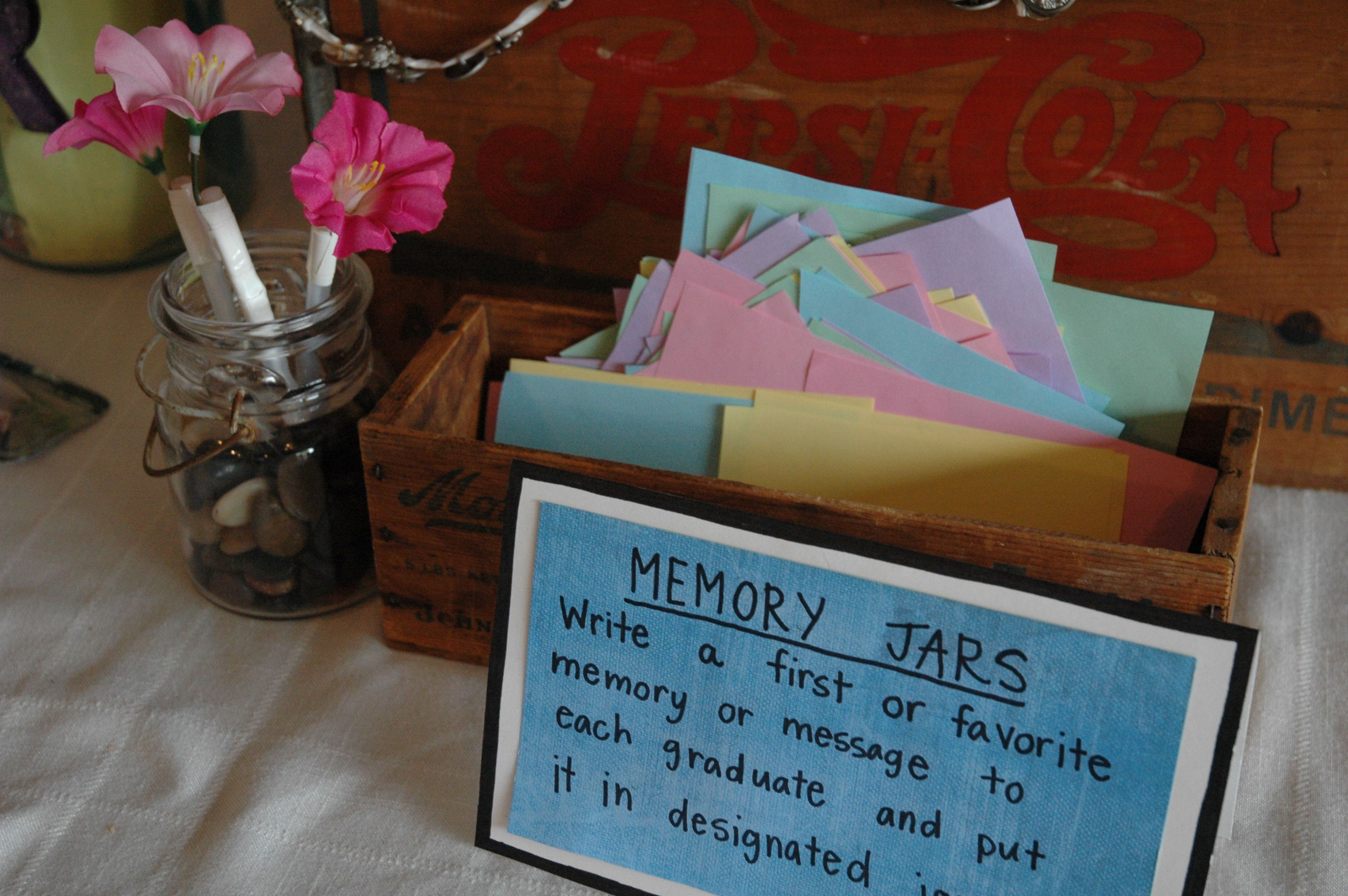Pin By Ally Anderson On Graduation Party Memory Jar Graduation Graduation Party Memory Jar Graduation Party Memory Ideas