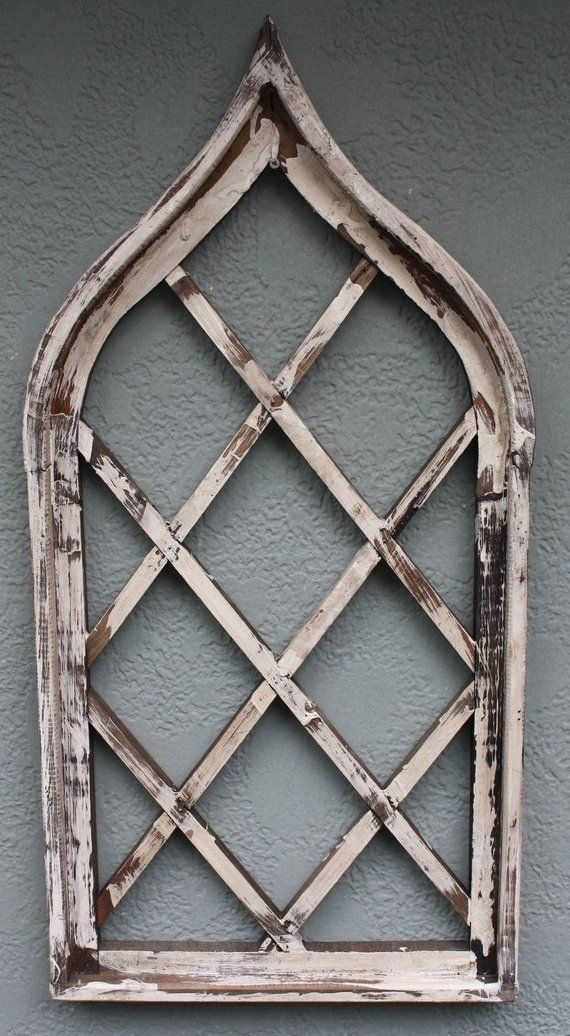 Wooden Antique Style Church WINDOW Frame Primitive Wood Gothic 33 1 ...