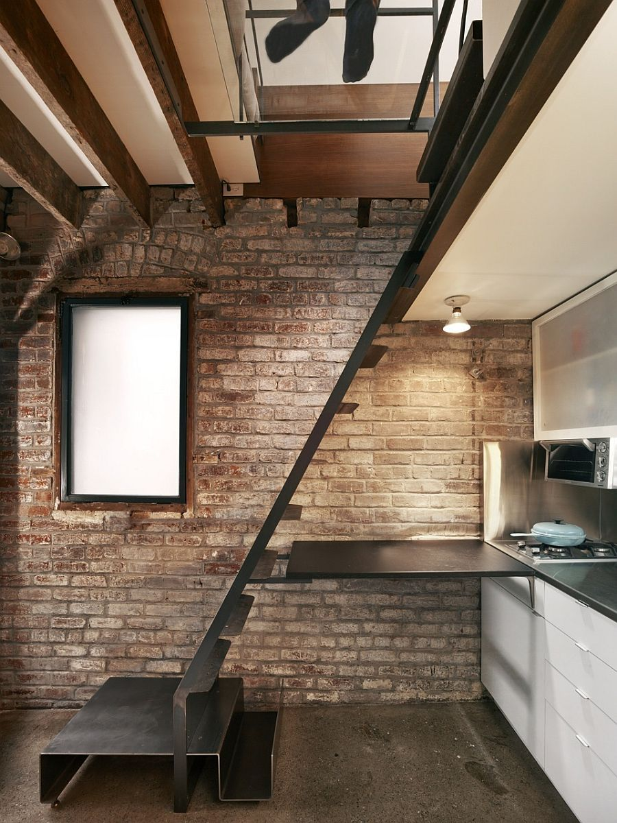 Lower Level Kitchen With Smart Use Of Limited Space
