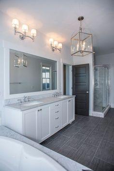 white bathroom ideas, polished nickel fixtures, grey