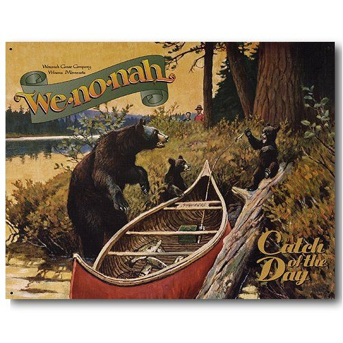 We-no-nah Canoes Catch of the Day Bear Fishing Retro ...