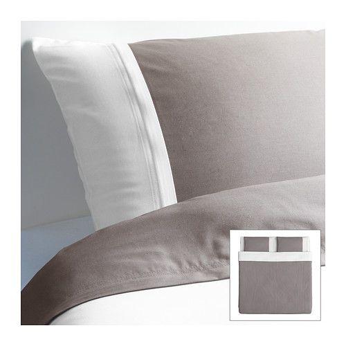 f rglav housse de couette et taie s gris blanc ikea maison lit ikea housse de. Black Bedroom Furniture Sets. Home Design Ideas