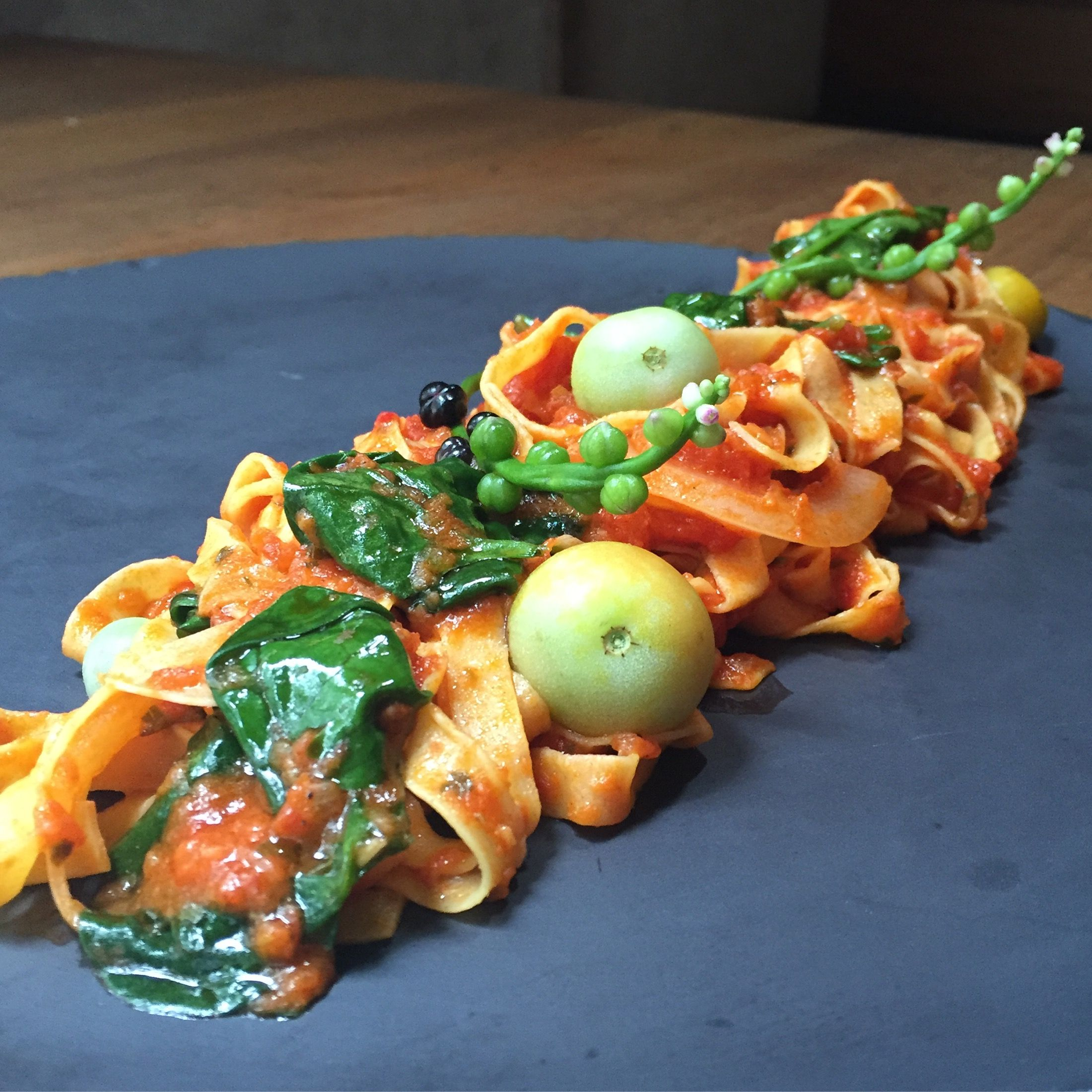 House made linguini with Calabrian chili arribiata sauce, Malabar ...