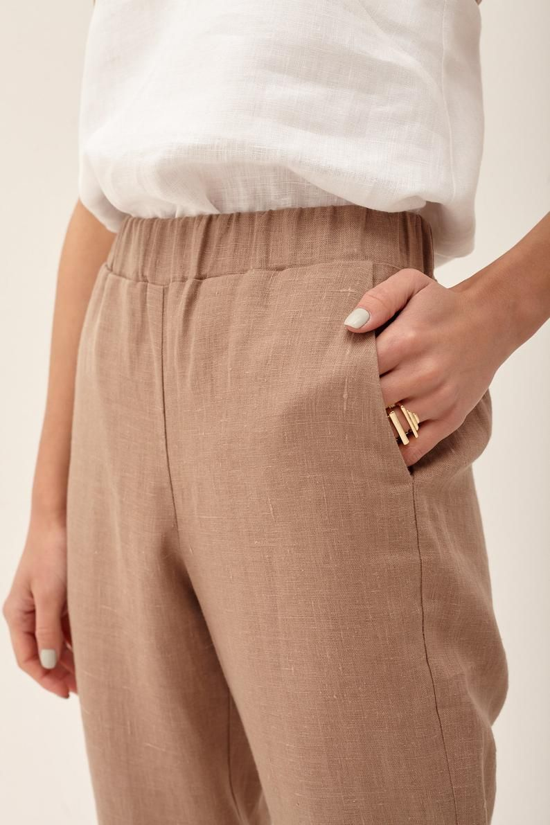 Linen Pajama pants   Linen loose pants  Women/'s Linen pants  Wood rose linen pants  Soft linen trousers Woman Linen pajama Pants