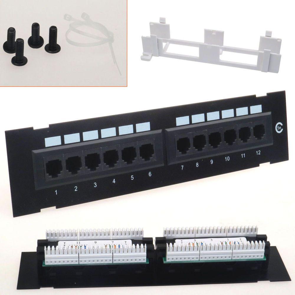 Rj45 Ethernet 110 Network Cat5e Patch 12 Port Panel Mini Rack Wall