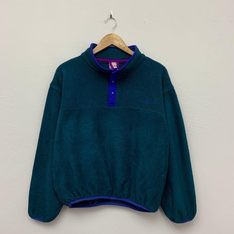 LL Bean Fleece Vintage Ll Bean Pullover Jacket L.L.Bean Made In USA Pullover Fleece Sweater Jacket Size LXL