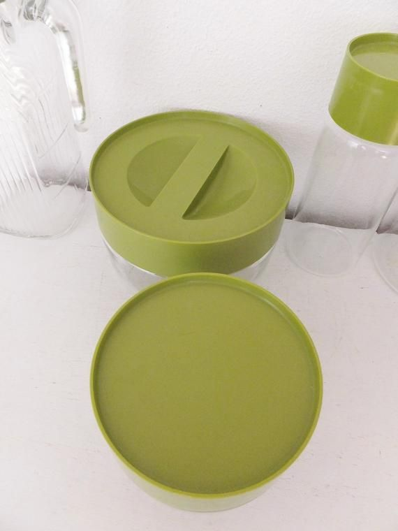 Vintage 1970's Kitchen Canisters Pyrex Glass Canisters Glass Jars Food Storage Vintage Avocado Gree