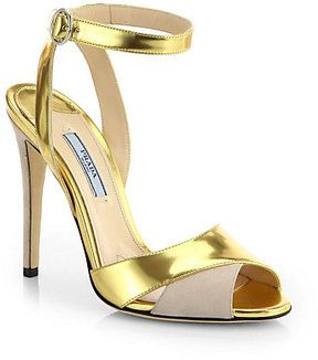 Prada Metallic Leather & Suede Evening Sandals on shopstyle.com