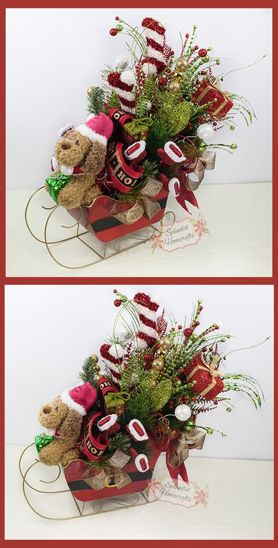 Santa Sleigh Centerpiece, Christmas Sleigh Centerpiece, Dog