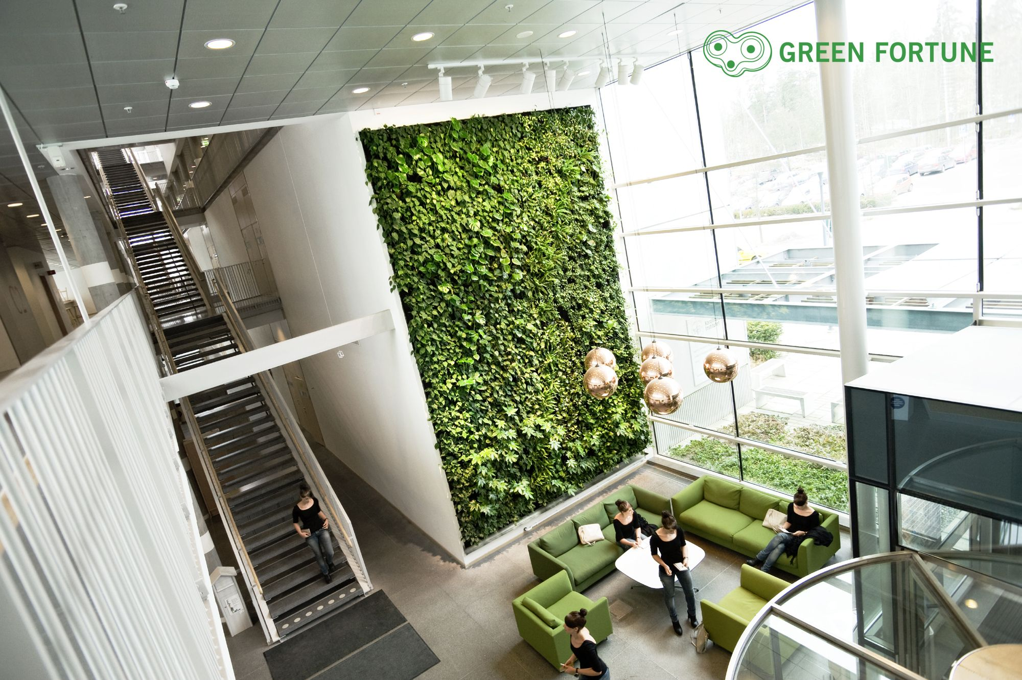 Green Fortune Plantwall Vertical Garden In Office Entrance Reception Area