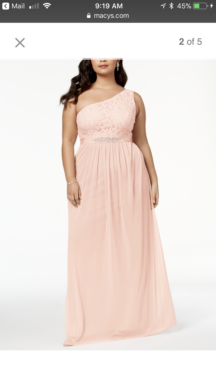 Adrianna papell embellished lace one shoulder bridesmaid dress in