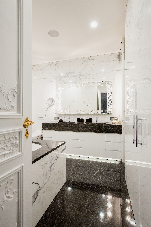 eine der bad ideen war die klassische kombination von schwarzem granit und weissem marmor mit. Black Bedroom Furniture Sets. Home Design Ideas