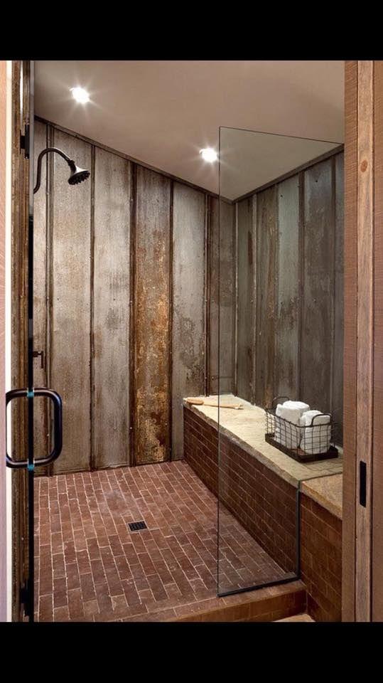 GroBartig Innendesign, Landhausstil Duschen, Diy Sauna, Sauna Ideen, Badezimmer  Duschen, Badezimmerideen, Rustikale Badezimmer Dusche, Wellblech Dusche