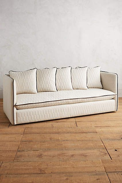 Ivory Sofa W/ Black Piping. Quilted Carlier Sofa   Anthropologie.com