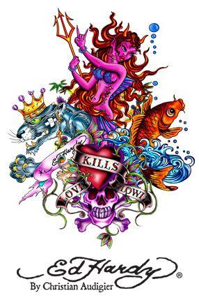 Ed hardy love kills sailor skull rhinestone men shirt l - Ed hardy designs wallpaper ...