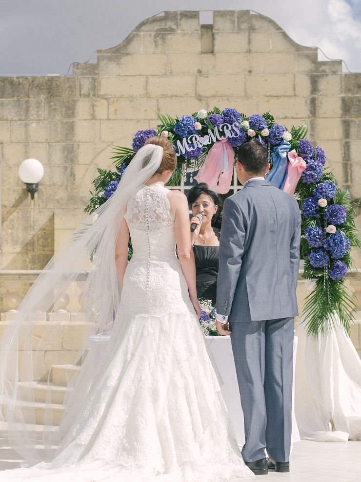 An Indigo Hydrangea Bouquet and ceremonial archway For A Wedding In Malta Island | fabmood.com #destinationwedding #wedding