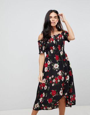 8d3145e81bcd2 Ax Paris Ruched Off Shoulder Floral Midi Dress