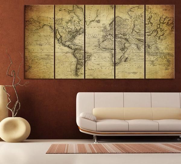 Vintage world map canvas print on old world old world map 5 piece vintage world map canvas print on old world old world map 5 piece canvas art print for home and office decoration wall art art print gumiabroncs Images