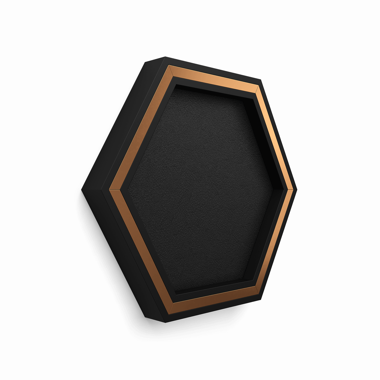 Black HoneyComb. Custom designed decorative molding. Made out of Plaster • Copper • Leather.  Designed by New York based designer Julia Artamon. Produced to order.