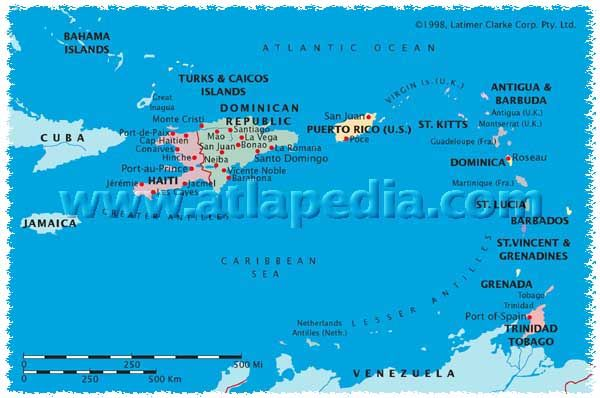 Political Map Of Bahamas Haiti Dominican Rep St Kitts - Dominica political map