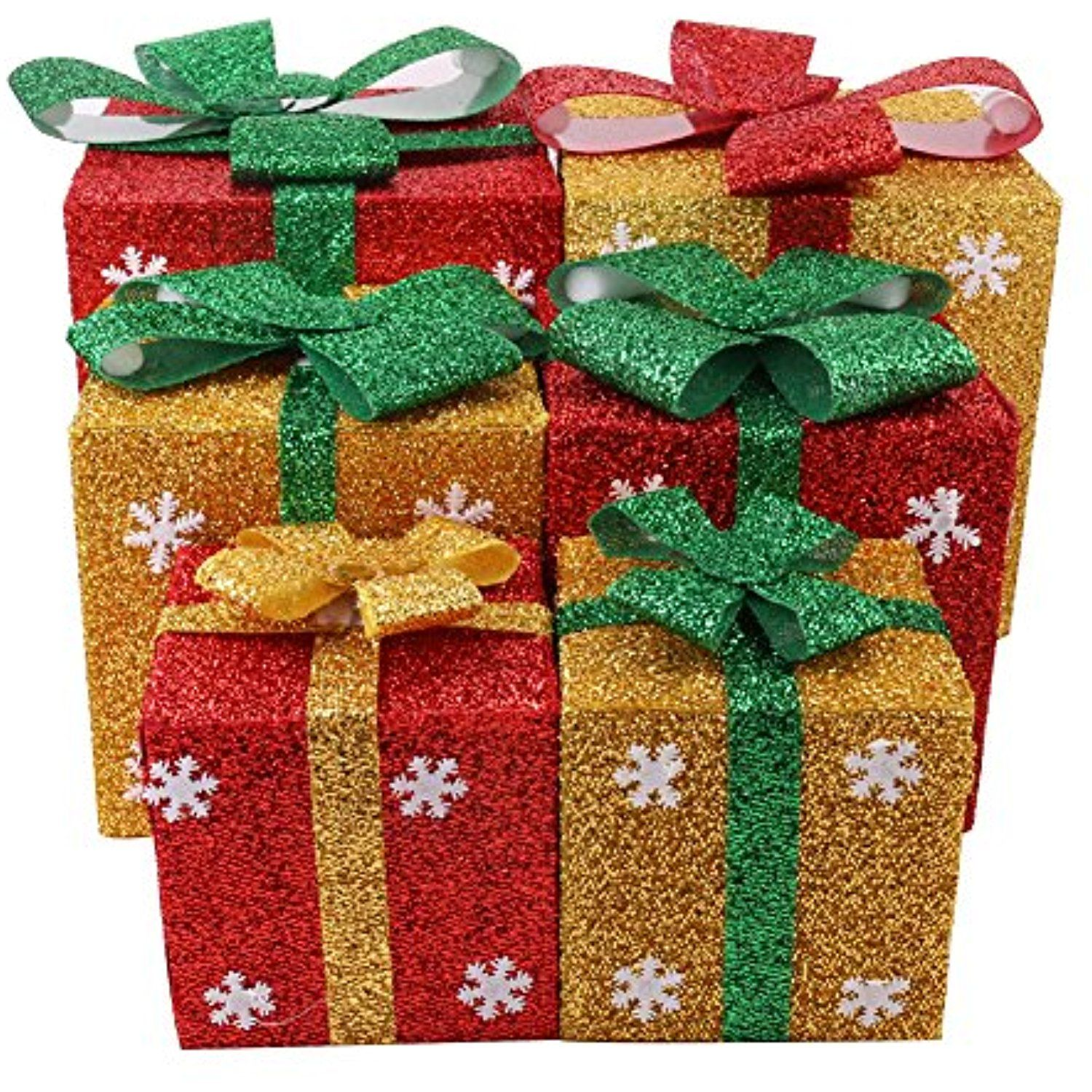 Christmas Gift Box Decorations Christmas Gift Boxes Decoration  Lighted Sparkling Sisal Red