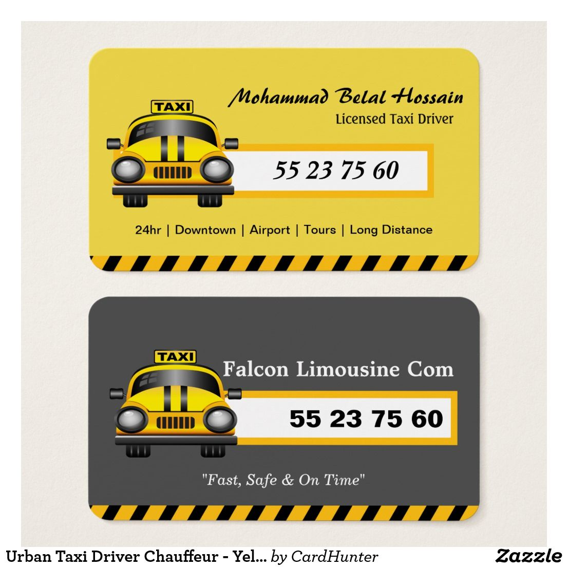 Urban Taxi Driver Chauffeur - Yellow Cap Business Card | fahim ...