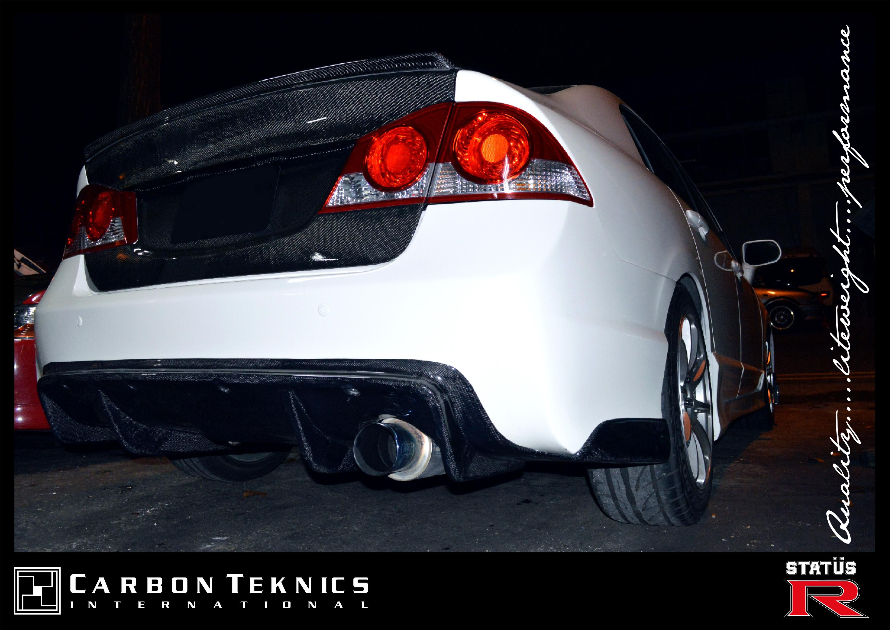 Carbon fiber m m style rear diffuser for civic fd2r photo 01