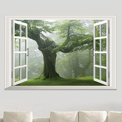 Fange Diy Removable 3d Style False Green Big Tree Window Scene Art Mural Vinyl Waterproof Wall Stickers Living Room De Wall Stickers Living Room Home Diy Decor