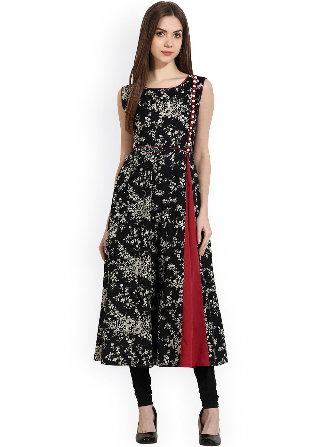 f26e10d10dc Buy Nayo Women Black Printed A Line Kurta - - Apparel for Women from Nayo  at Rs. 899